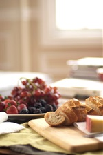Preview iPhone wallpaper Breakfast, bread, grapes, cheese