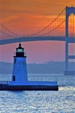 Preview iPhone wallpaper Bridge, lighthouse, sea, Newport, Rhode Island, USA