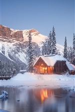 British Columbia, house, mountains, trees, winter, snow, Canada