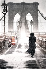 Preview iPhone wallpaper Brooklyn, Freeze, bridge, girl, winter