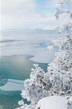 Parque Nacional da Península Bruce, Canadá, neve, inverno, mar