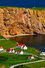 Preview iPhone wallpaper Canada, Perce Rock, houses, sea
