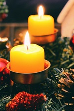 Preview iPhone wallpaper Candles, flame, Christmas decoration
