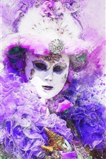 Preview iPhone wallpaper Carnival, mask, watercolor painting