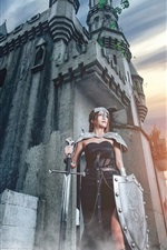 Preview iPhone wallpaper Castle, warrior girl, shield, sword, sunset
