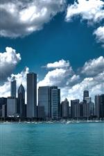iPhone fondos de pantalla Chicago, EE.UU., rascacielos, nubes, mar, ciudad