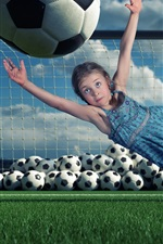 Child girl, defensive, football, jumping