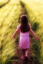 Preview iPhone wallpaper Child girl walk in the field path