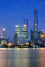 Preview iPhone wallpaper China, Shanghai, Oriental Pearl Tower, city night, lights, skyscrapers, river