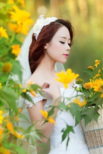 Preview iPhone wallpaper Chinese bride, white dress, flowers