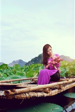 Preview iPhone wallpaper Chinese girl, purple dress, boat, lotus, lake