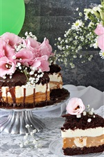 Chocolate cake, flowers