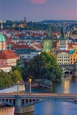 Preview iPhone wallpaper City, dusk, lights, bridge, river, Vltava, Prague, Czech Republic