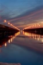 City night, bridge, lights, river