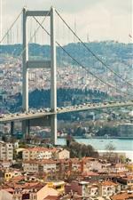 Cidade, rio, ponte, casas, edifícios, Istambul, Turquia