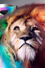 Preview iPhone wallpaper Colorful drawing lion