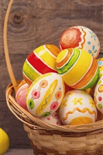 Preview iPhone wallpaper Colorful eggs, basket, Happy Easter