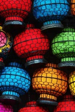 Preview iPhone wallpaper Colorful lanterns, Chinese culture