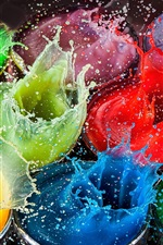 Preview iPhone wallpaper Colorful paint splash, high speed photography