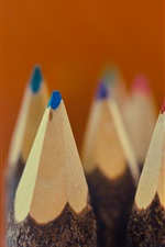 Preview iPhone wallpaper Colorful pencils, nib, macro