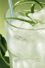 Preview iPhone wallpaper Cool drinks, ice, green lemon slice, glass cup