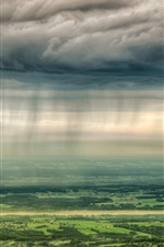 Preview iPhone wallpaper Countryside, towns, trees, fields, clouds, sunlight, top view