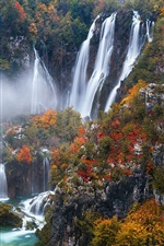 Preview iPhone wallpaper Croatia, Plitvice Lakes National Park, beautiful waterfalls, autumn
