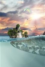 Preview iPhone wallpaper Crocodile, island, horizon, fantasy art picture