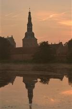 미리보기 iPhone 배경 화면 덴마크, 안개, 강, 도시, 아침