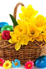 Preview iPhone wallpaper Easter, colorful eggs, basket, flowers, white background