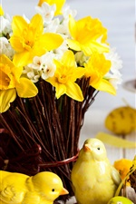 Preview iPhone wallpaper Easter, daffodils, eggs, figurine, spring