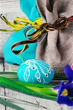 Preview iPhone wallpaper Easter, iris flower, colorful eggs