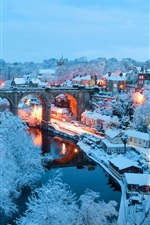 Preview iPhone wallpaper England, North Yorkshire, Knaresborough, city, lights, river, white snow, winter
