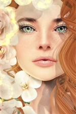 Preview iPhone wallpaper Fantasy girl, curly hair, green eyes, flowers