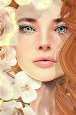 iPhone обои Девушка-фантазия, вьющиеся волосы, зеленые глаза, цветы
