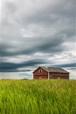 Preview iPhone wallpaper Field, house, clouds