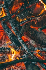 Preview iPhone wallpaper Firewood, carbon, fire