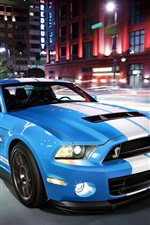 Preview iPhone wallpaper Ford Mustang Shelby GT500 blue supercar speed