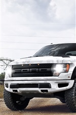 Preview iPhone wallpaper Ford Raptor white camouflage pickup