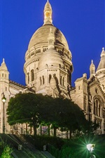 Preview iPhone wallpaper France, Paris, Montmartre, castle, night, lights, trees