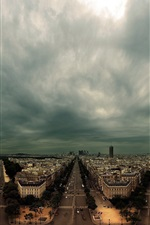 Preview iPhone wallpaper France, Paris, city, houses, roads, dark clouds