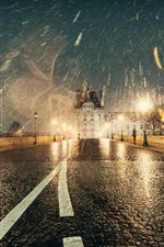 Preview iPhone wallpaper France, Paris, winter, snow, night, road, lights, wet