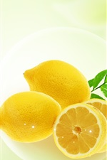 Preview iPhone wallpaper Fresh lemon, green leaves