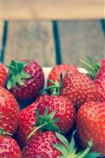 Preview iPhone wallpaper Fresh strawberry, bowl, wood board