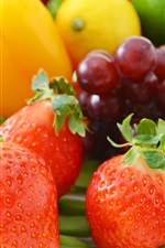 Preview iPhone wallpaper Fruit and vegetable, grapes, strawberry, orange, chili, bean