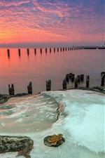 Preview iPhone wallpaper Fullerton, Michigan, Chicago, sea, dusk, sunset, red sky