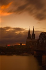 Preview iPhone wallpaper Germany, Cologne, cathedral, evening, river, bridge
