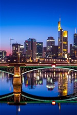 Preview iPhone wallpaper Germany, Frankfurt, city night, bridge, river, water reflection