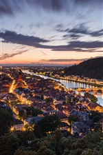 Preview iPhone wallpaper Germany, Heidelberg, night, city, houses, lights, river, bridge