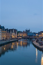 Preview iPhone wallpaper Ghent, Belgium, Flanders, river, city, houses, people